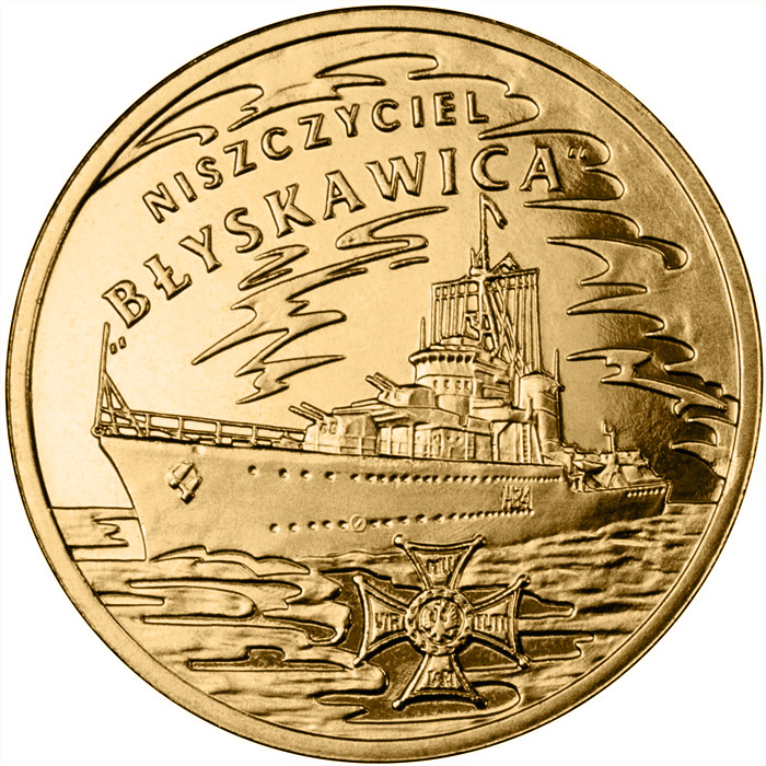 Image of 2 zloty coin - ORP Błyskawica | Poland 2012.  The Nordic gold (CuZnAl) coin is of UNC quality.