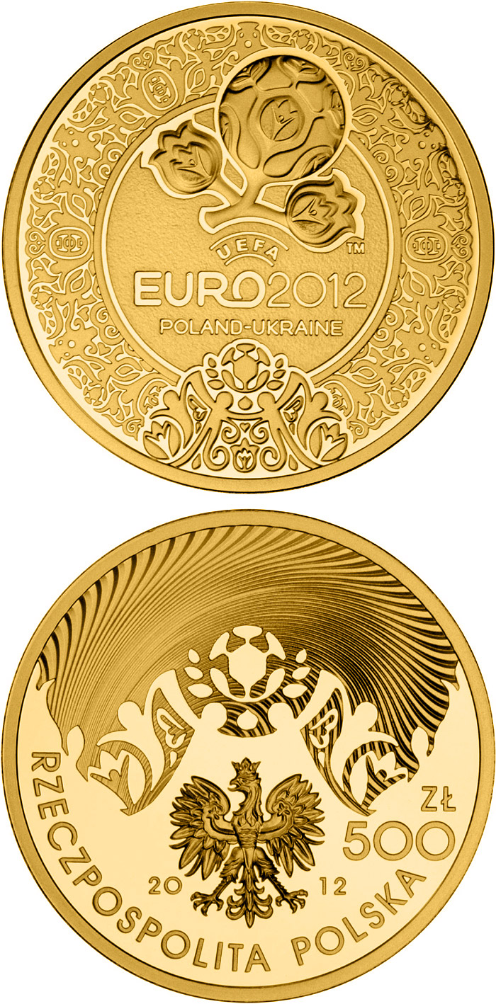 Image of 500 zloty coin - UEFA EURO 2012 | Poland 2012.  The Gold coin is of Proof quality.