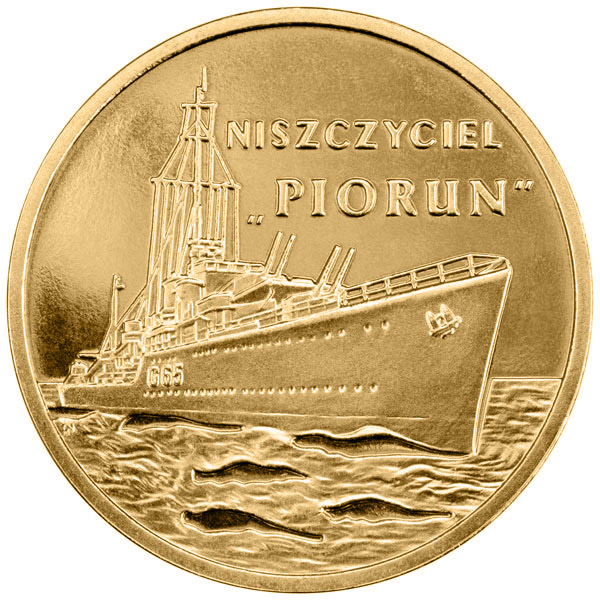 Image of 2 zloty coin - Piorun - Destroyer | Poland 2012.  The Nordic gold (CuZnAl) coin is of UNC quality.