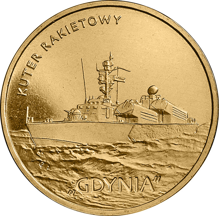Image of 2 zloty coin - Gdynia Missile Boat | Poland 2013.  The Nordic gold (CuZnAl) coin is of UNC quality.