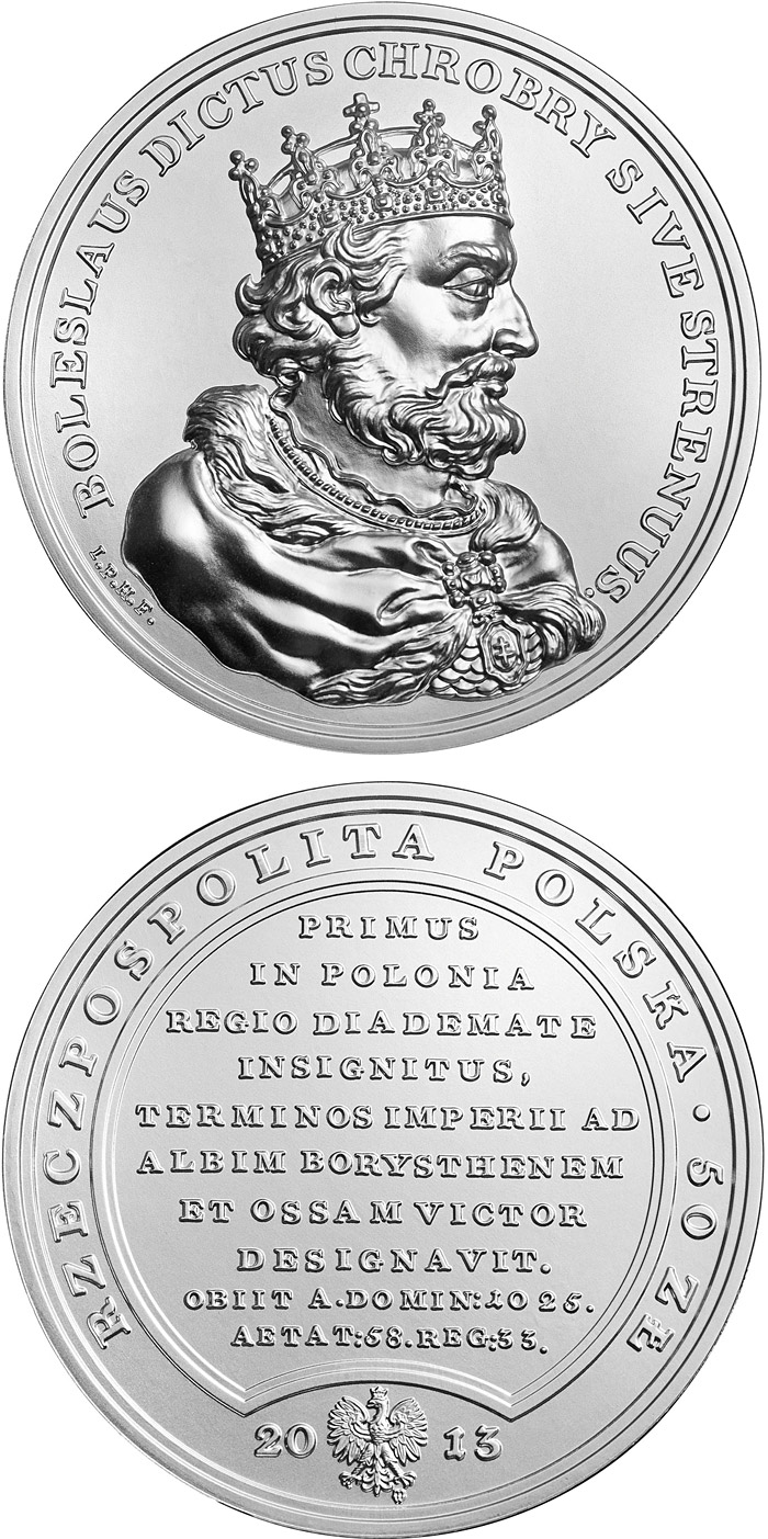 Image of 50 zloty coin - Boleslaw I the Brave | Poland 2013.  The Silver coin is of BU quality.