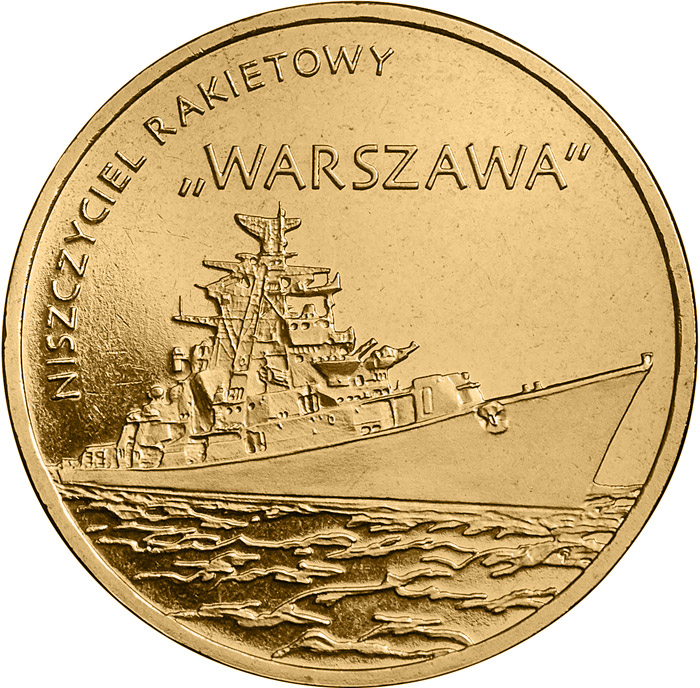 Image of 2 zloty coin - Warszawa Guided-missile Destroyer | Poland 2013.  The Nordic gold (CuZnAl) coin is of UNC quality.