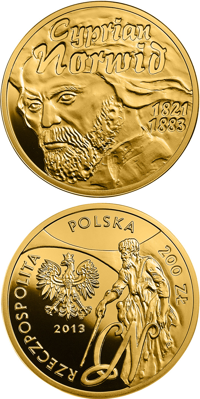 Image of 2 zloty coin - Cyprian Norwid | Poland 2013.  The Nordic gold (CuZnAl) coin is of UNC quality.