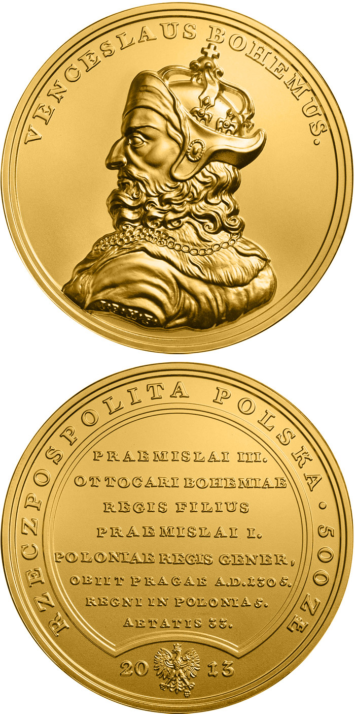 Image of 500 zloty coin - Wenceslaus II of Bohemia | Poland 2013.  The Gold coin is of BU quality.