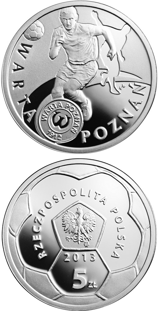 Image of 5 zloty coin - Warta Poznań | Poland 2013.  The Silver coin is of Proof quality.