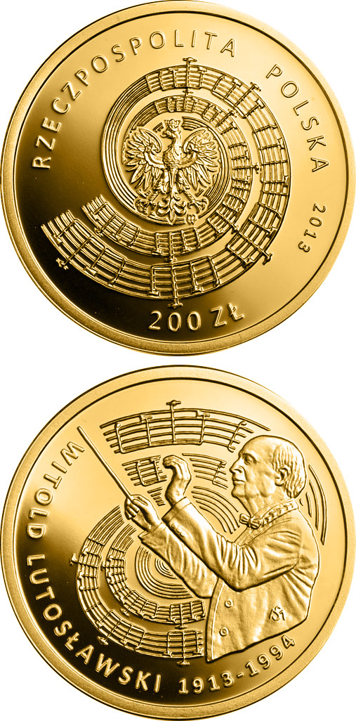 Image of 200 zloty coin Witold Lutosławski | Poland 2013.  The Gold coin is of Proof quality.