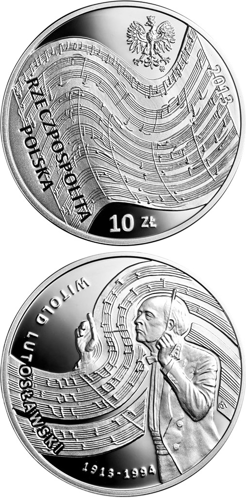 Image of 10 zloty coin - Witold Lutosławski | Poland 2013.  The Silver coin is of Proof quality.