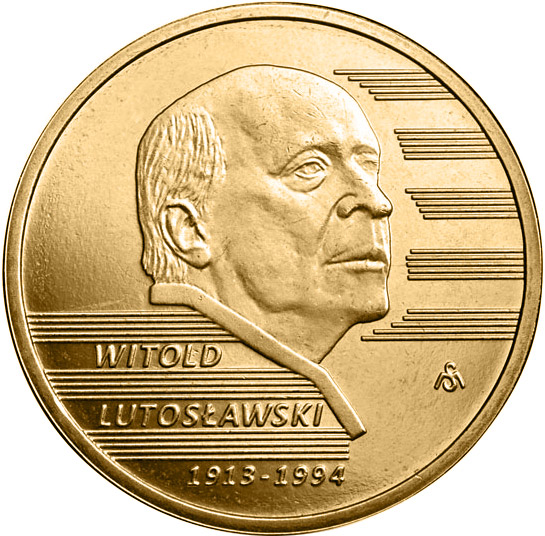 Image of 2 zloty coin - Witold Lutosławski | Poland 2013.  The Nordic gold (CuZnAl) coin is of UNC quality.