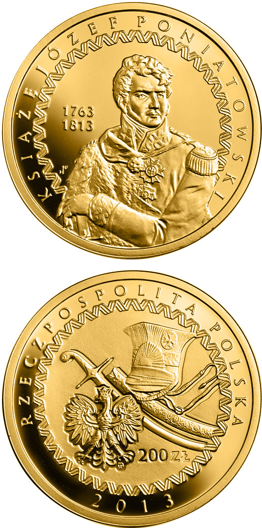 Image of 200 zloty coin - 200th Anniversary of the Death of Prince Józef Poniatowski | Poland 2013.  The Gold coin is of Proof quality.
