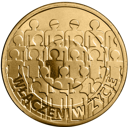Image of 2 zloty coin - 50th anniversary of the Polish Society for the Mentally Handicapped | Poland 2013.  The Nordic gold (CuZnAl) coin is of UNC quality.
