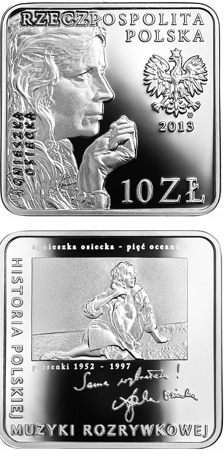 Image of 10 zloty coin - Agnieszka Osiecka  | Poland 2013.  The Silver coin is of Proof quality.