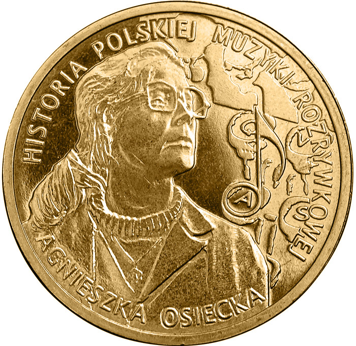 Image of Agnieszka Osiecka  – 2 zloty coin Poland 2013.  The Nordic gold (CuZnAl) coin is of UNC quality.