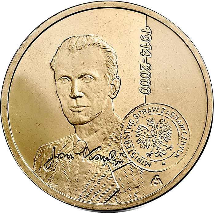 Image of Centenary of the birth of Jan Karski  – 2 zloty coin Poland 2014.  The Nordic gold (CuZnAl) coin is of UNC quality.