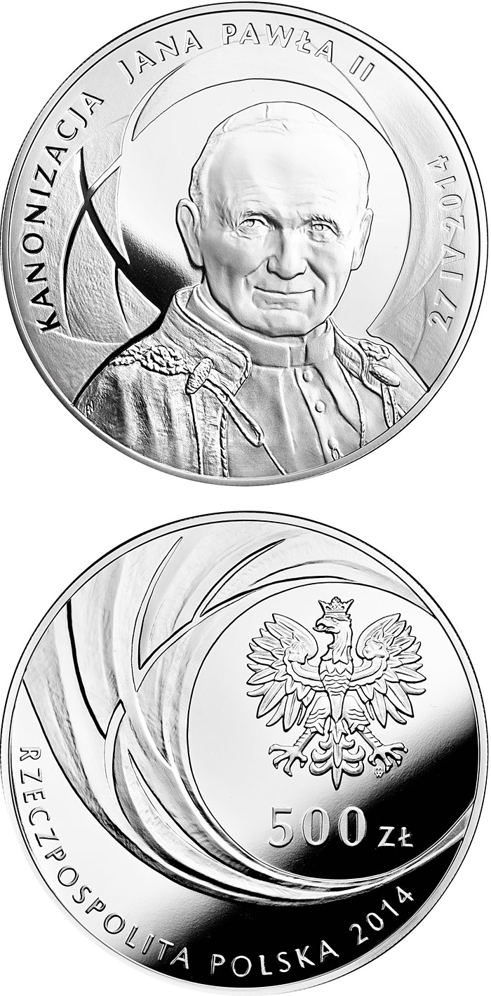 Image of 500 zloty coin - Canonisation of John Paul II, 27 IV 2014 | Poland 2014.  The Silver coin is of Proof quality.