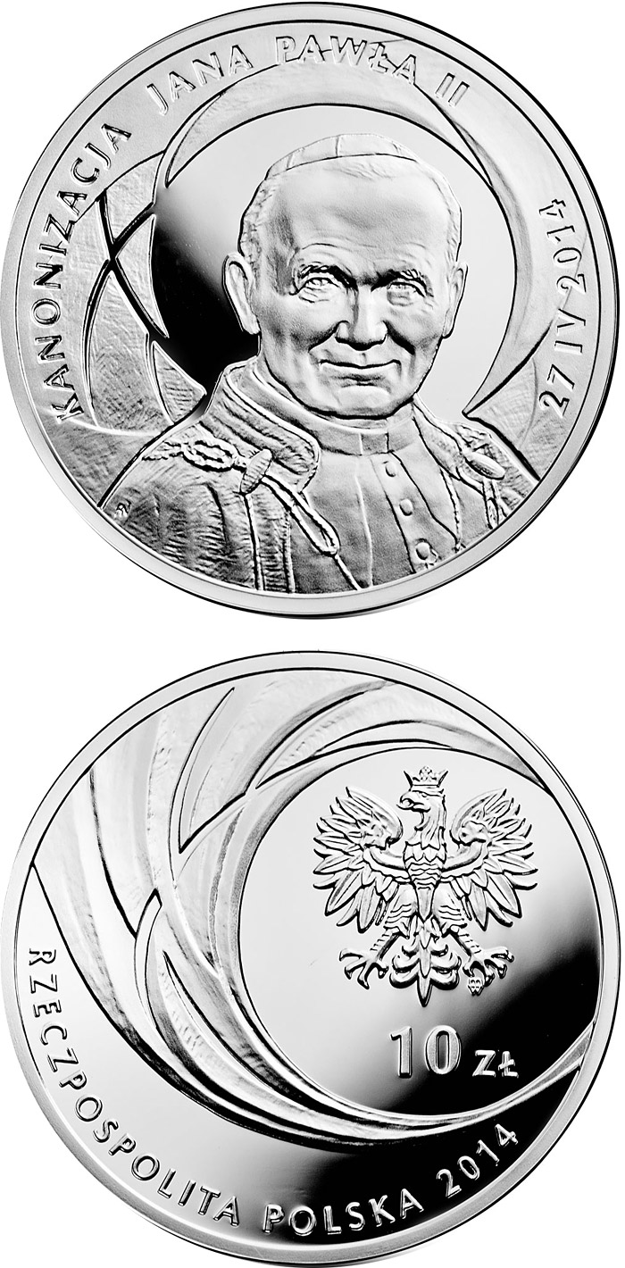 Image of 10 zloty coin - Canonisation of John Paul II, 27 IV 2014 | Poland 2014.  The Silver coin is of Proof quality.
