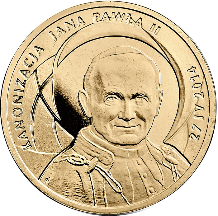 Image of 2 zloty coin Canonisation of John Paul II, 27 IV 2014 | Poland 2014.  The Nordic gold (CuZnAl) coin is of UNC quality.