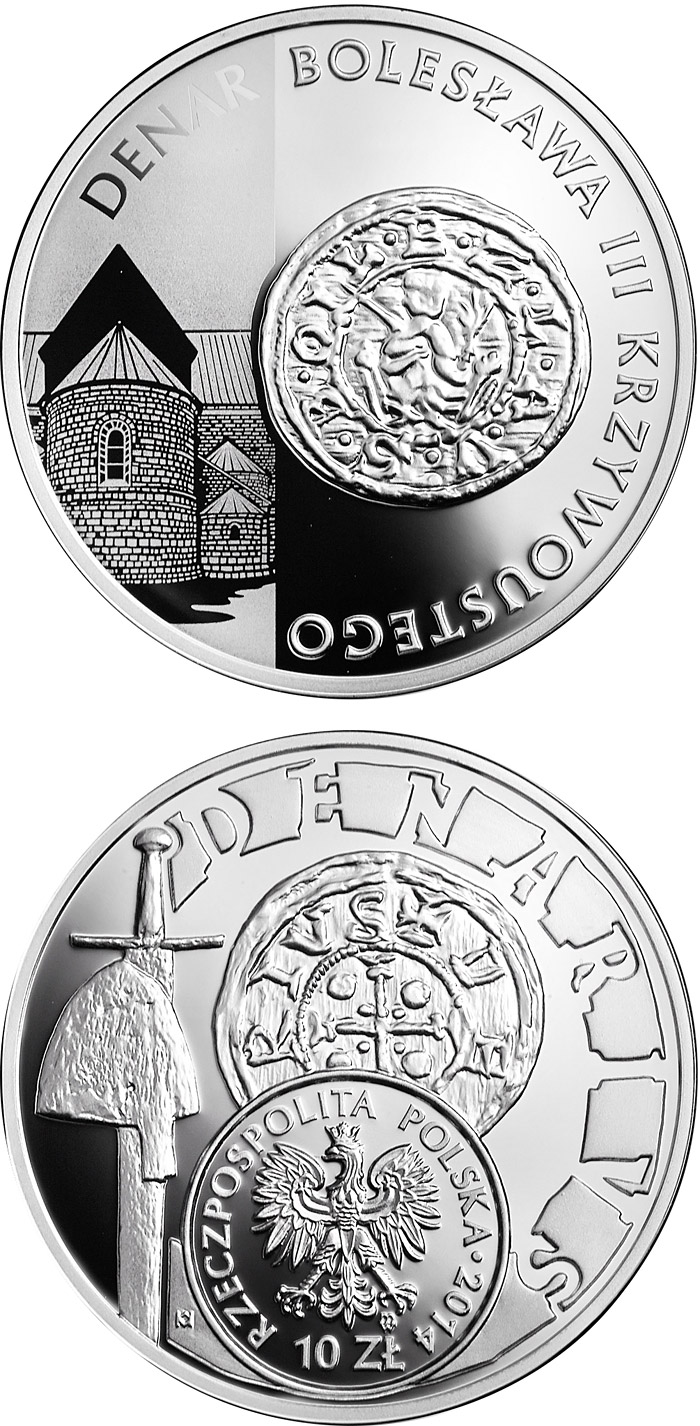 Image of 10 zloty coin - History of Polish Coin Boleslaw the Wry-Mouthed – denarius, cat. 2 | Poland 2014.  The Silver coin is of Proof quality.
