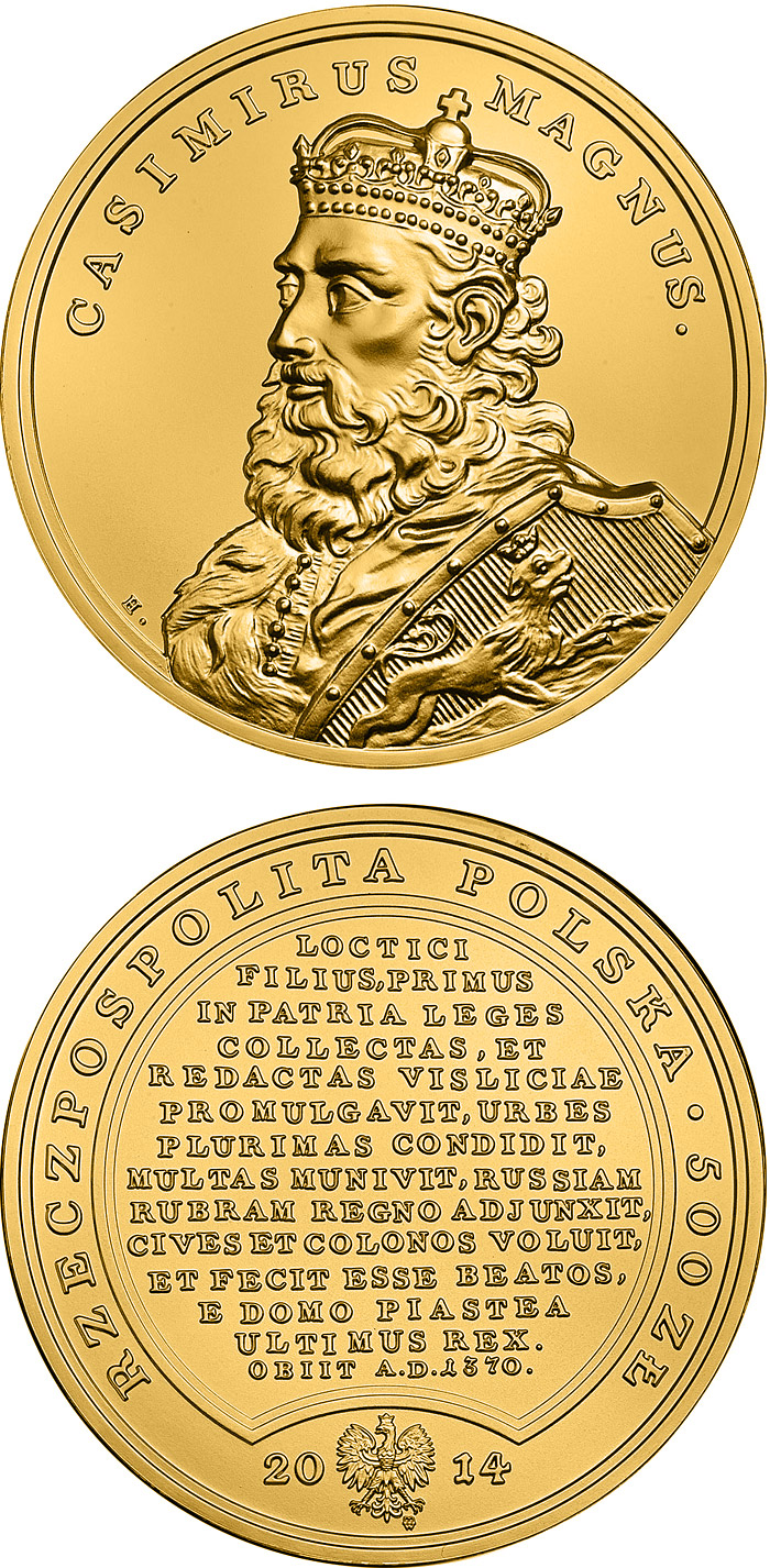 Image of Casimir the Great  – 500 zloty coin Poland 2014.  The Gold coin is of Proof quality.