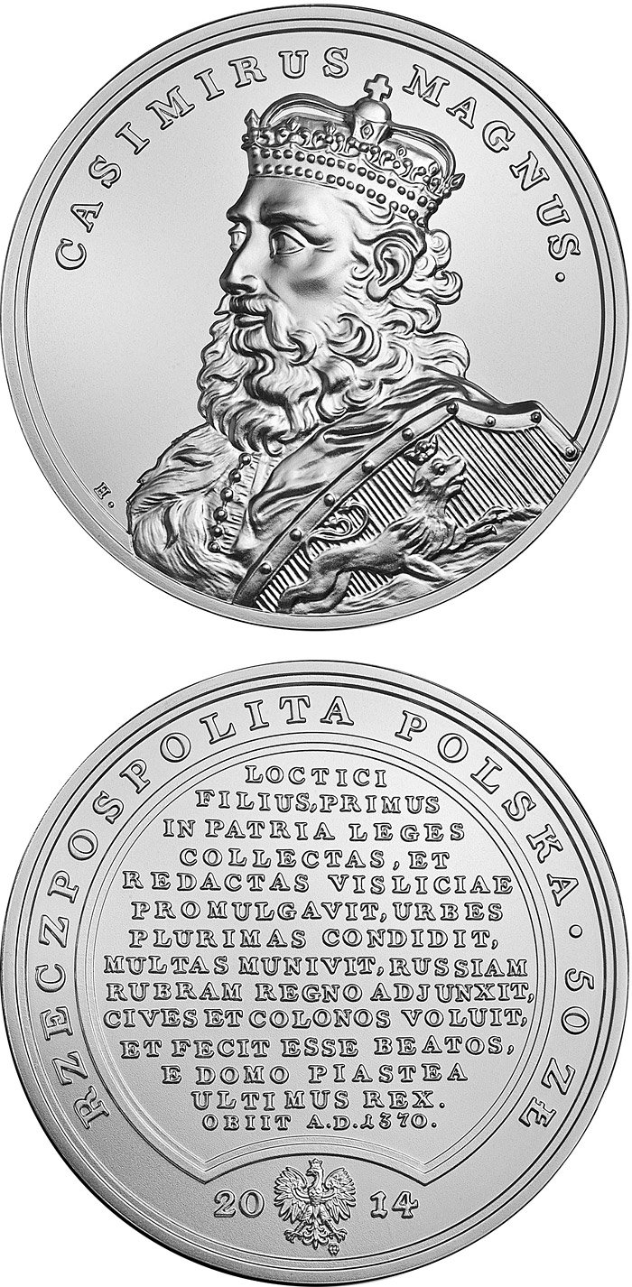Image of 50 zloty coin - Casimir the Great  | Poland 2014.  The Silver coin is of Proof quality.