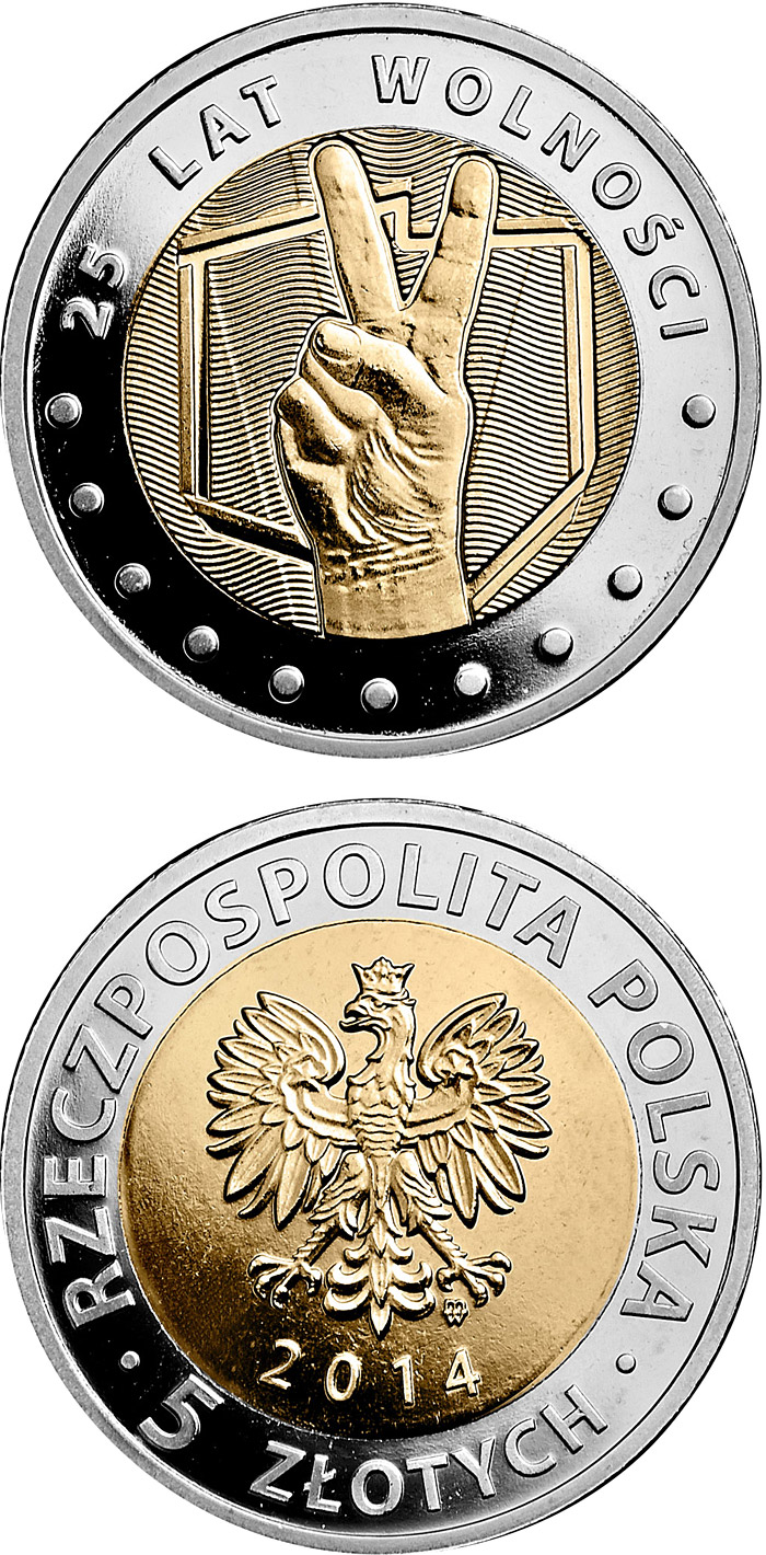 Image of 5 zloty coin 25 years of freedom  | Poland 2014.  The Bimetal: CuNi, nordic gold coin is of UNC quality.