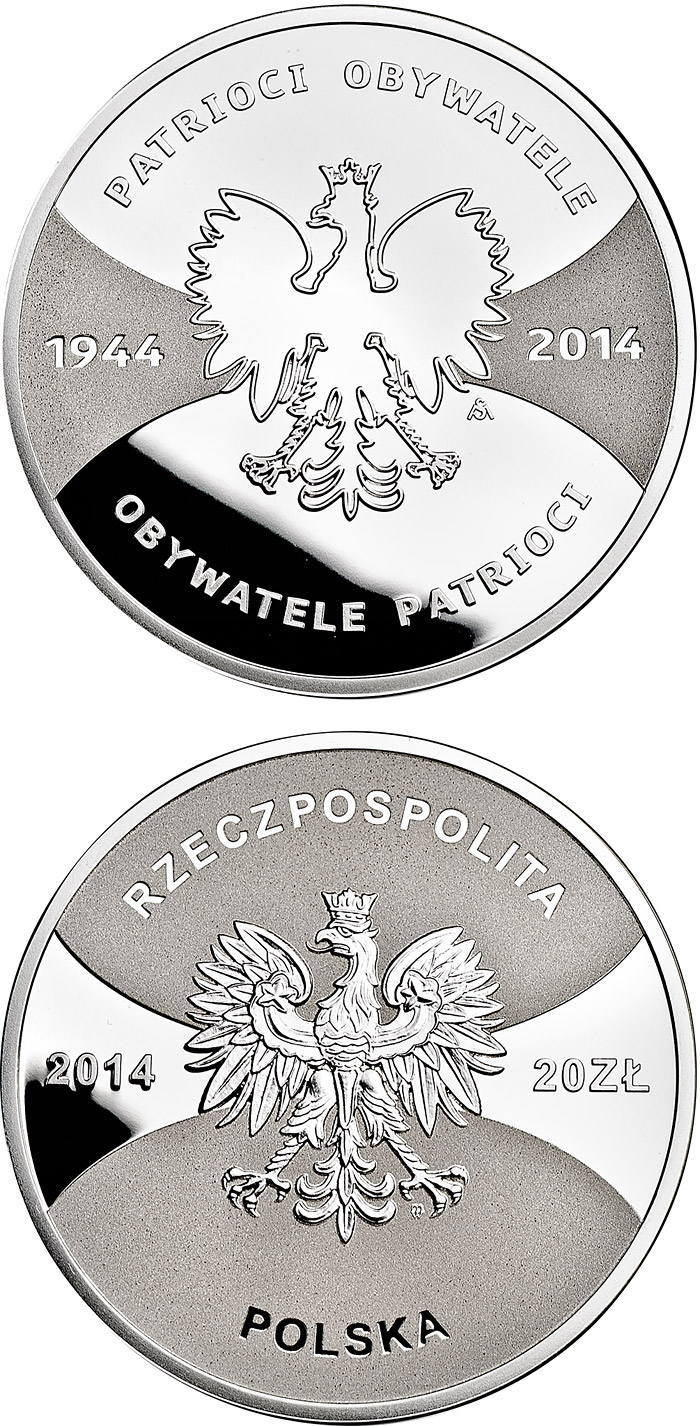Image of 20 zloty coin - Patriots 1944 Citizens 2014  | Poland 2014.  The Silver coin is of Proof quality.