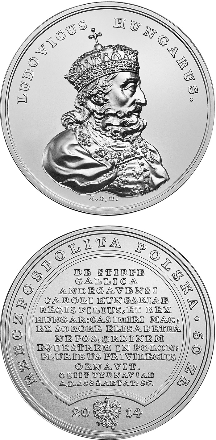 Image of 50 zloty coin - Treasures of King Stanislaw August – Louis the Great  | Poland 2014.  The Silver coin is of BU quality.