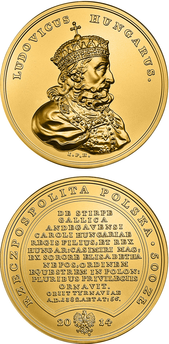 Image of 500 zloty coin - Treasures of King Stanislaw August – Louis the Great  | Poland 2014.  The Gold coin is of BU quality.