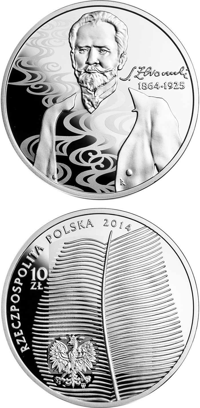 Image of 10 zloty coin 150th anniversary of the birth of Stefan Żeromski  | Poland 2014.  The Silver coin is of Proof quality.