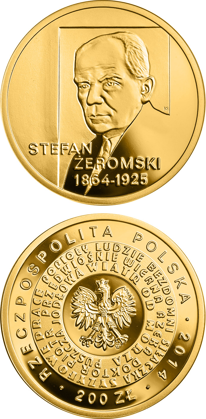 Image of a coin 200 zloty | Poland | 150th anniversary of the birth of Stefan Żeromski | 2014