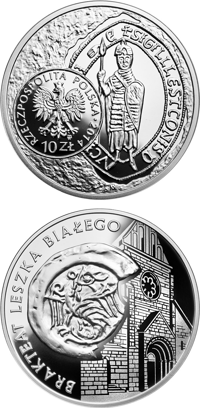 Image of 10 zloty coin - Leszek I the White – bracteate  | Poland 2014.  The Silver coin is of Proof quality.