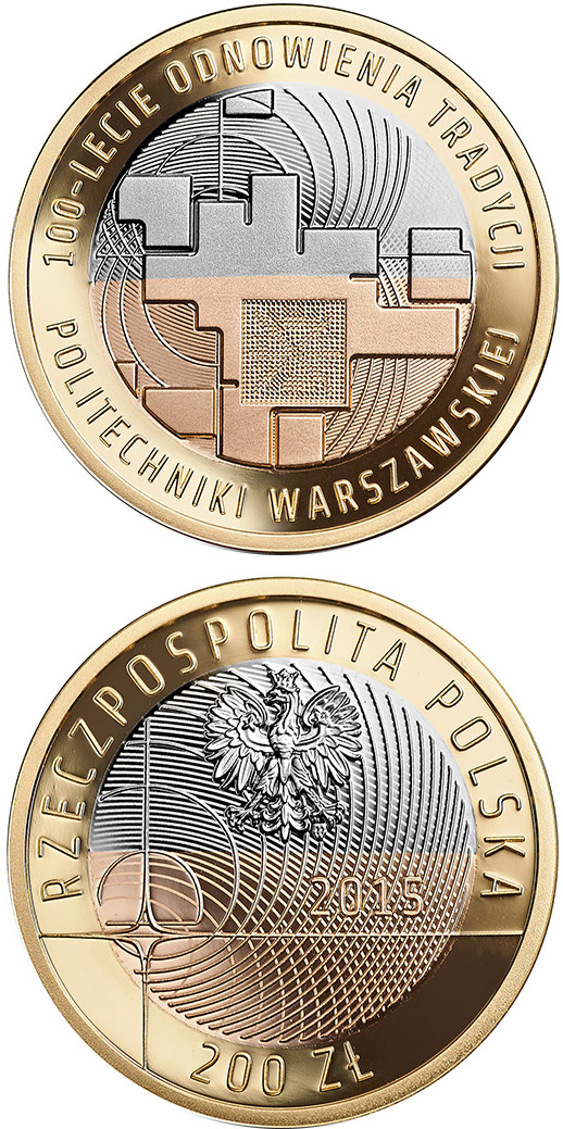 Image of 200 zloty coin - 100 Years of Warsaw University of Technology | Poland 2015.  The Gold coin is of Proof quality.