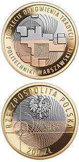 200 zloty coin 100 Years of Warsaw University of Technology | Poland 2015
