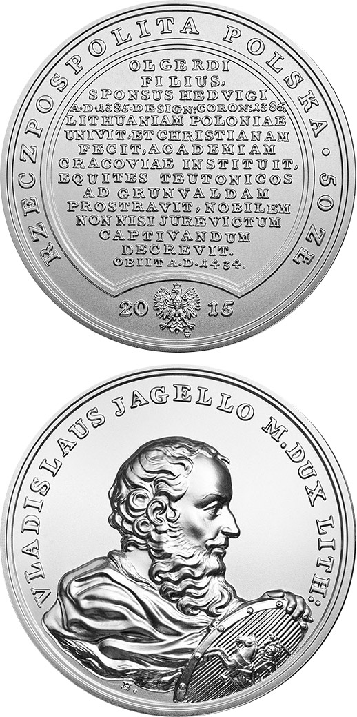 Image of 50 zloty coin - Ladislas Jagiello  | Poland 2015.  The Gold coin is of BU quality.