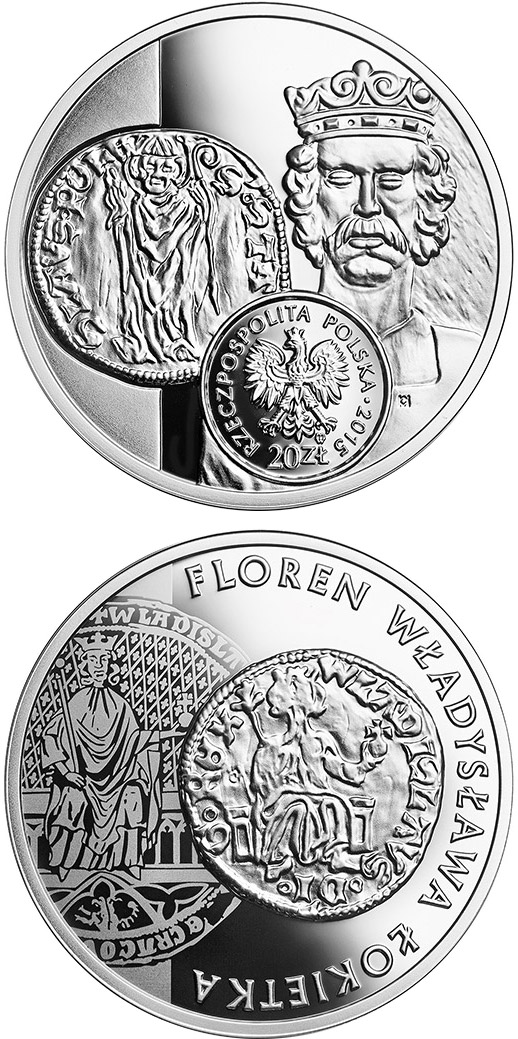Image of 20 zloty coin - Florin of Ladislas the Elbow-high | Poland 2015.  The Silver coin is of Proof quality.
