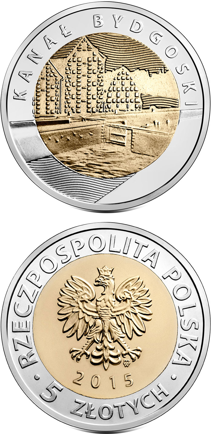 Image of 5 zloty coin Bydgoszcz Canal  | Poland 2015.  The Bimetal: CuNi, nordic gold coin is of UNC quality.
