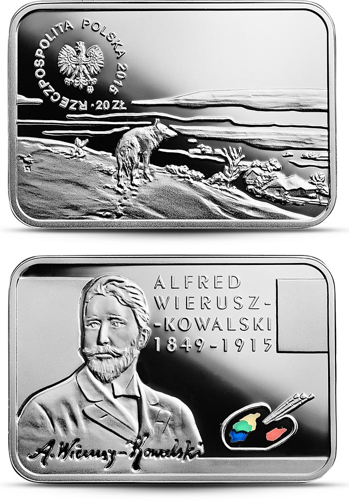 Image of 20 zloty coin - Alfred Wierusz-Kowalski  | Poland 2015.  The Silver coin is of Proof quality.