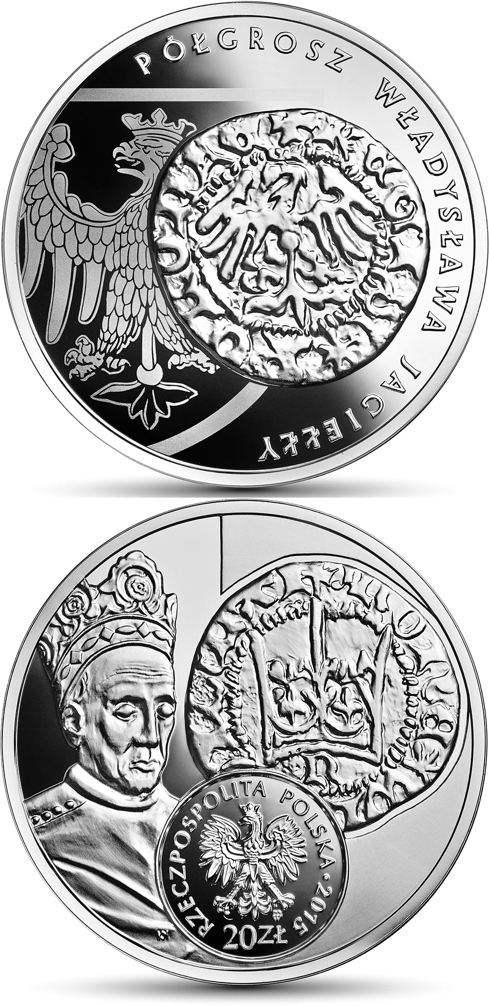 Image of The half grosz of Ladislas Jagiello  – 20 zloty coin Poland 2015.  The Silver coin is of BU quality.
