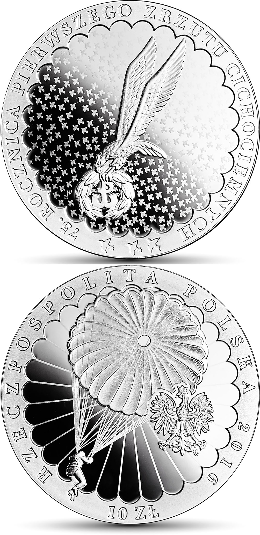 Image of 10 zloty coin -  75th Anniversary of the First Drop of the Cichociemni Paratroopers  | Poland 2016.  The Silver coin is of Proof quality.