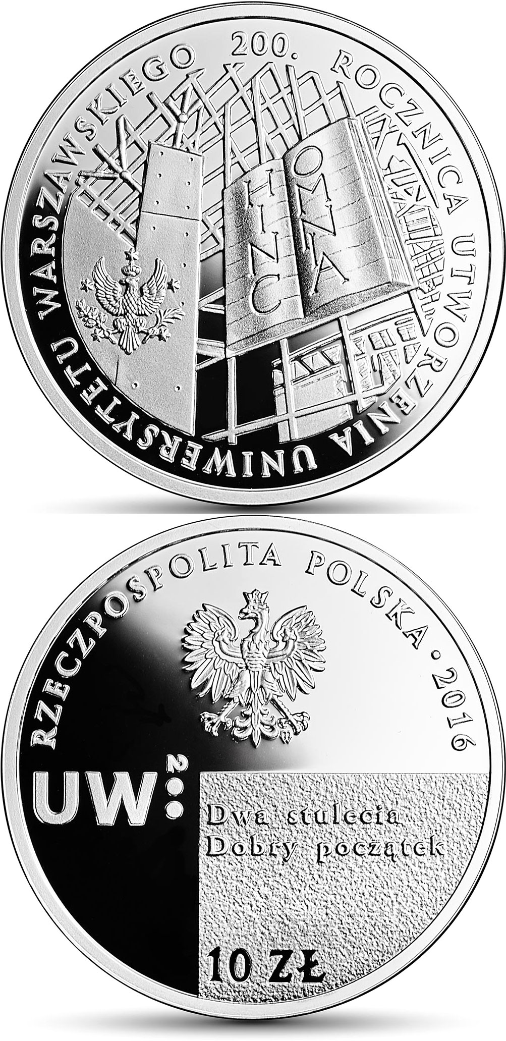 Image of 10 zloty coin - 200th Anniversary of the Establishment of the University of Warsaw | Poland 2016.  The Silver coin is of Proof quality.