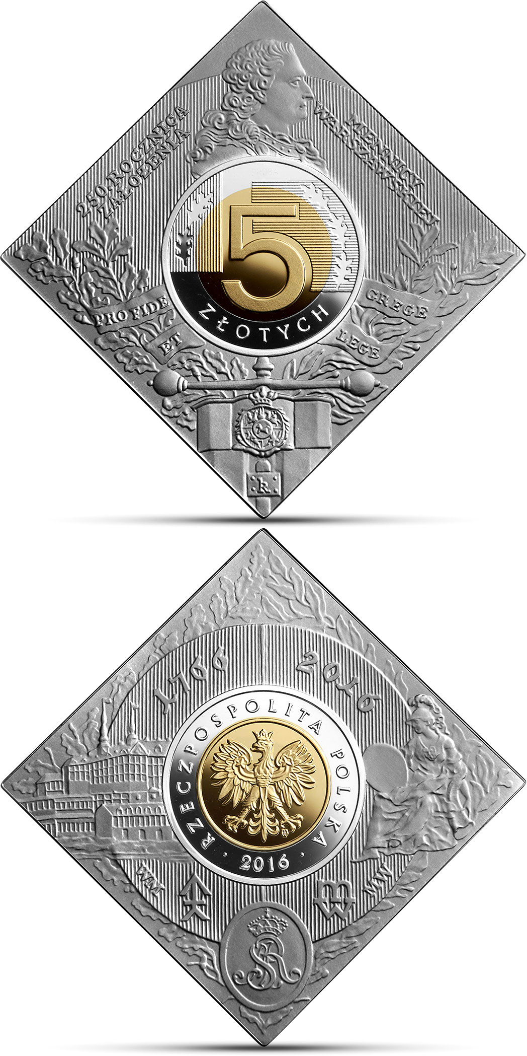 Image of a coin 5 zloty | Poland | 250th Anniversary of the Foundation of the Warsaw Mint  | 2016
