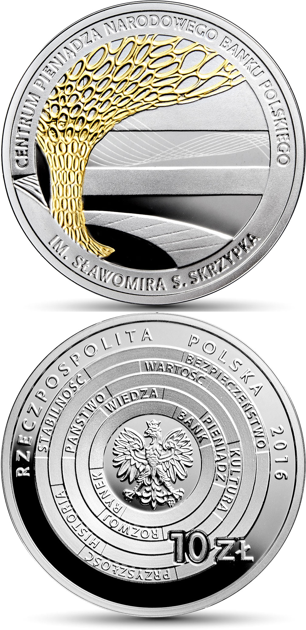 Image of NBP Money Centre in memory of Sławomir S. Skrzypek  – 10 zloty coin Poland 2016.  The Silver coin is of Proof quality.