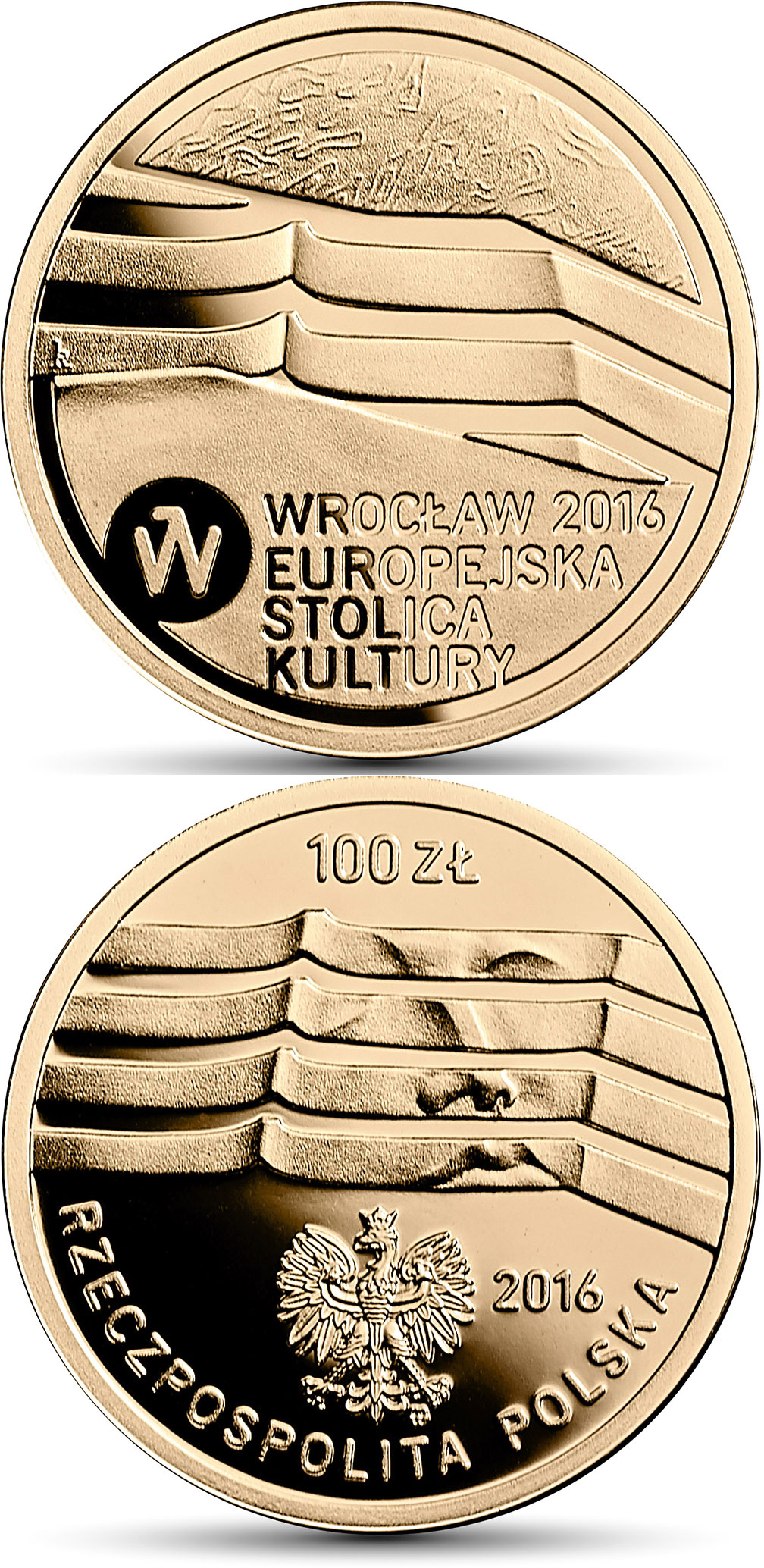 Image of 200 zloty coin - Wrocław – the European Capital of Culture | Poland 2016.  The Gold coin is of Proof quality.