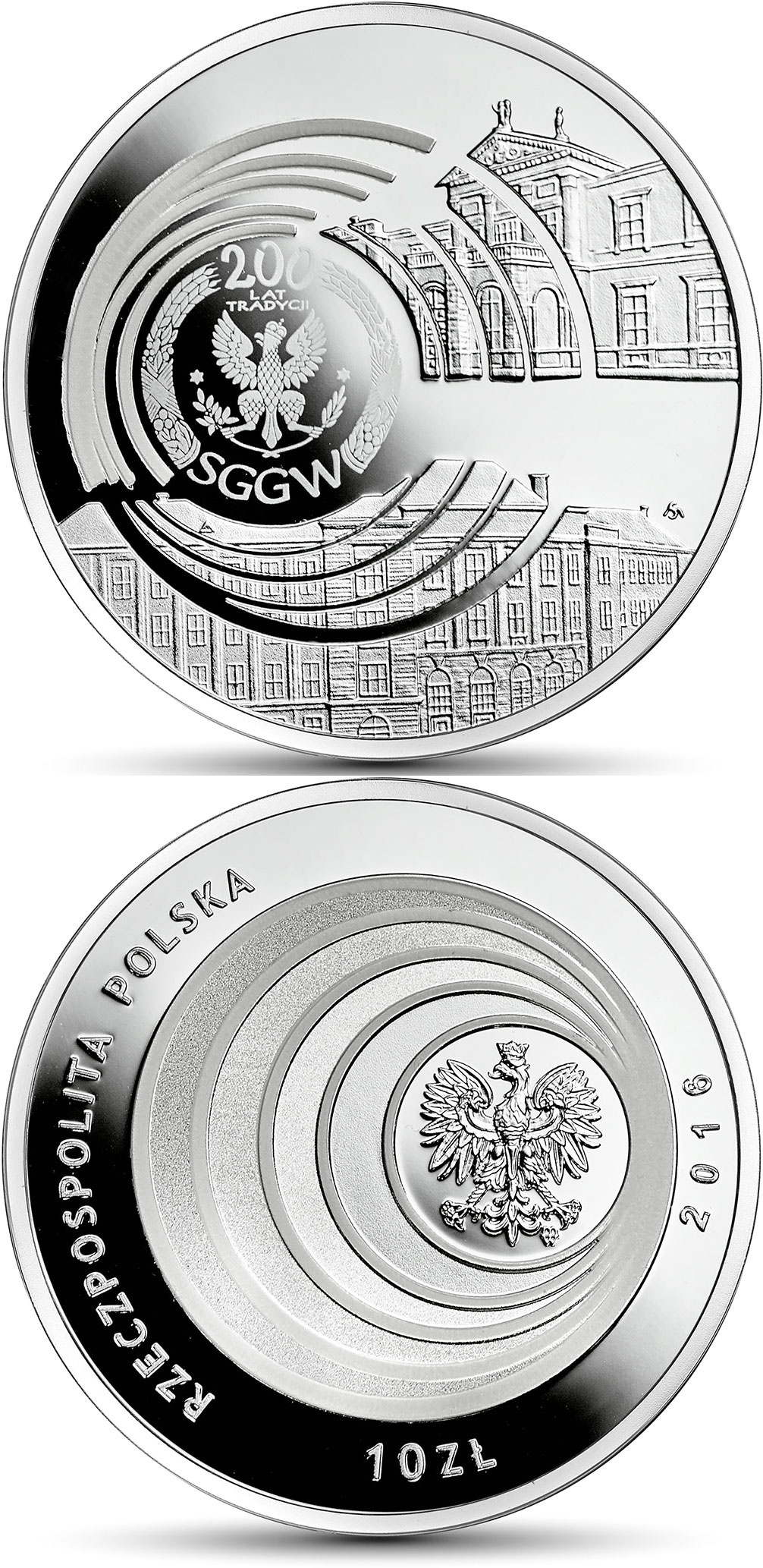 Image of 10 zloty coin - Bicentenary of the Warsaw University of Life Sciences – SGGW | Poland 2016.  The Silver coin is of Proof quality.