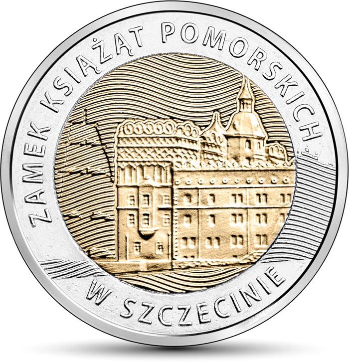Image of 5 zloty coin - Pomeranian Dukes' Castle in Szczecin  | Poland 2016.  The Bimetal: CuNi, nordic gold coin is of UNC quality.