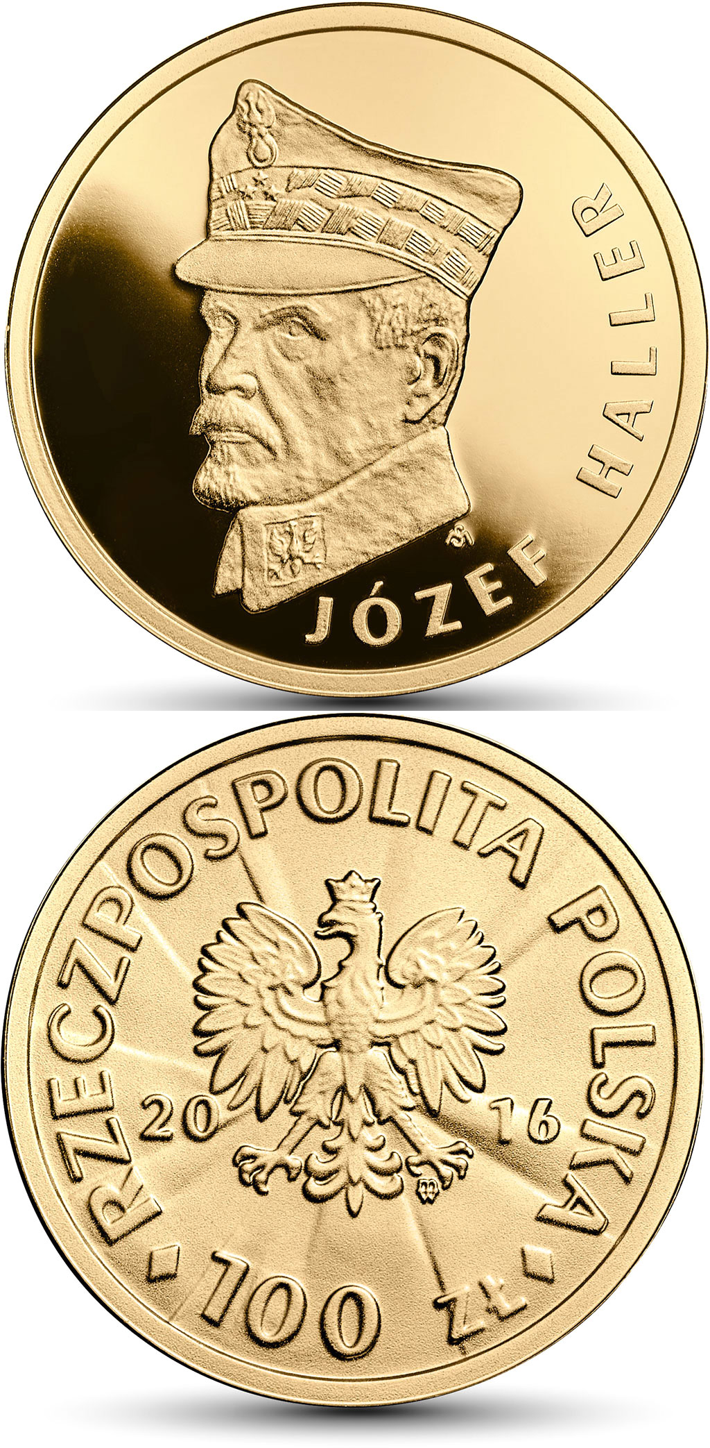 Image of 100 zloty coin 100th Anniversary of Regaining Independence by Poland – Józef Haller | Poland 2016.  The Gold coin is of Proof quality.