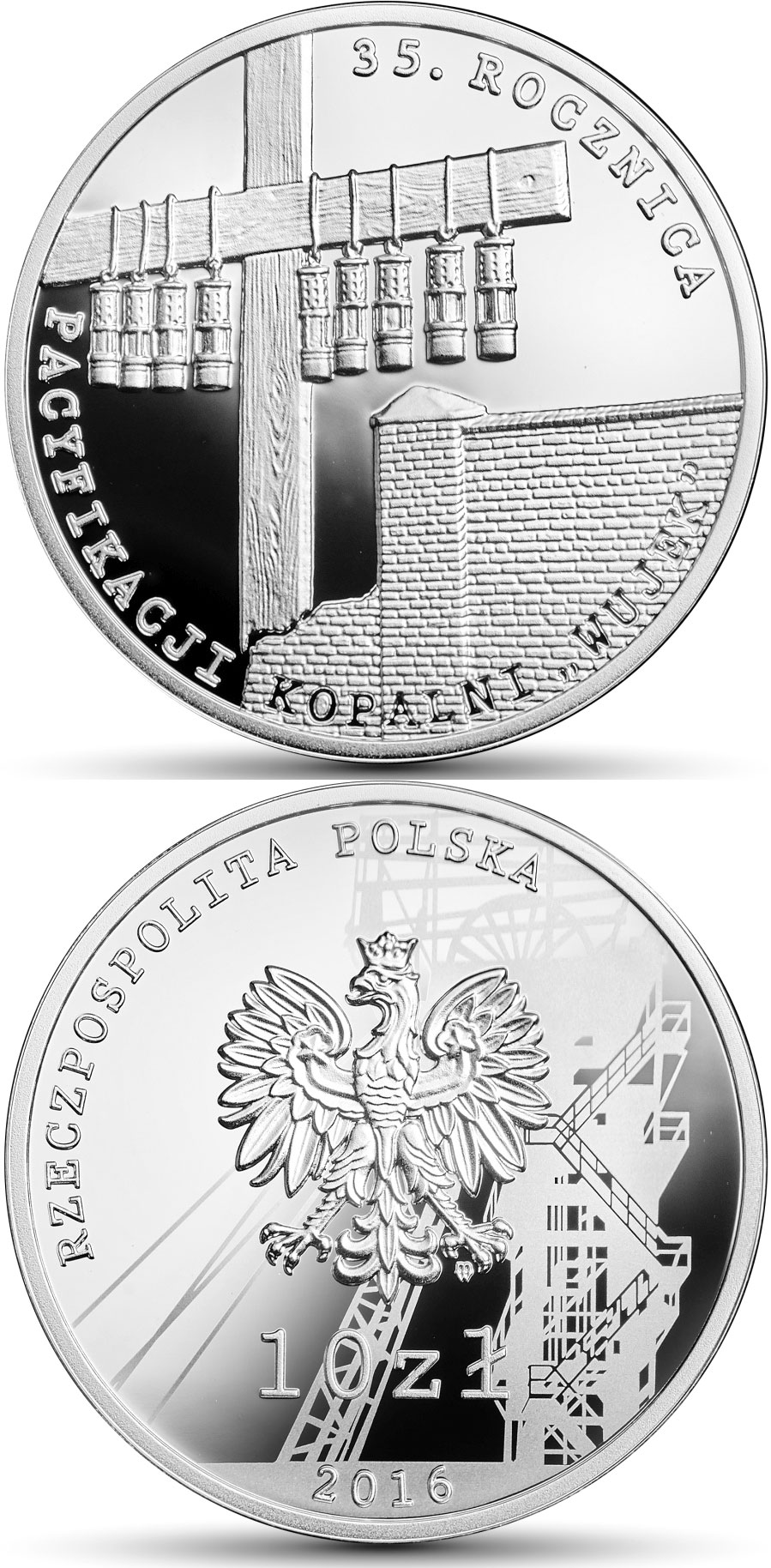 "10 zloty The 35th anniversary of the pacification of the ""Wujek"" Coal Mine  - 2016 - Poland"