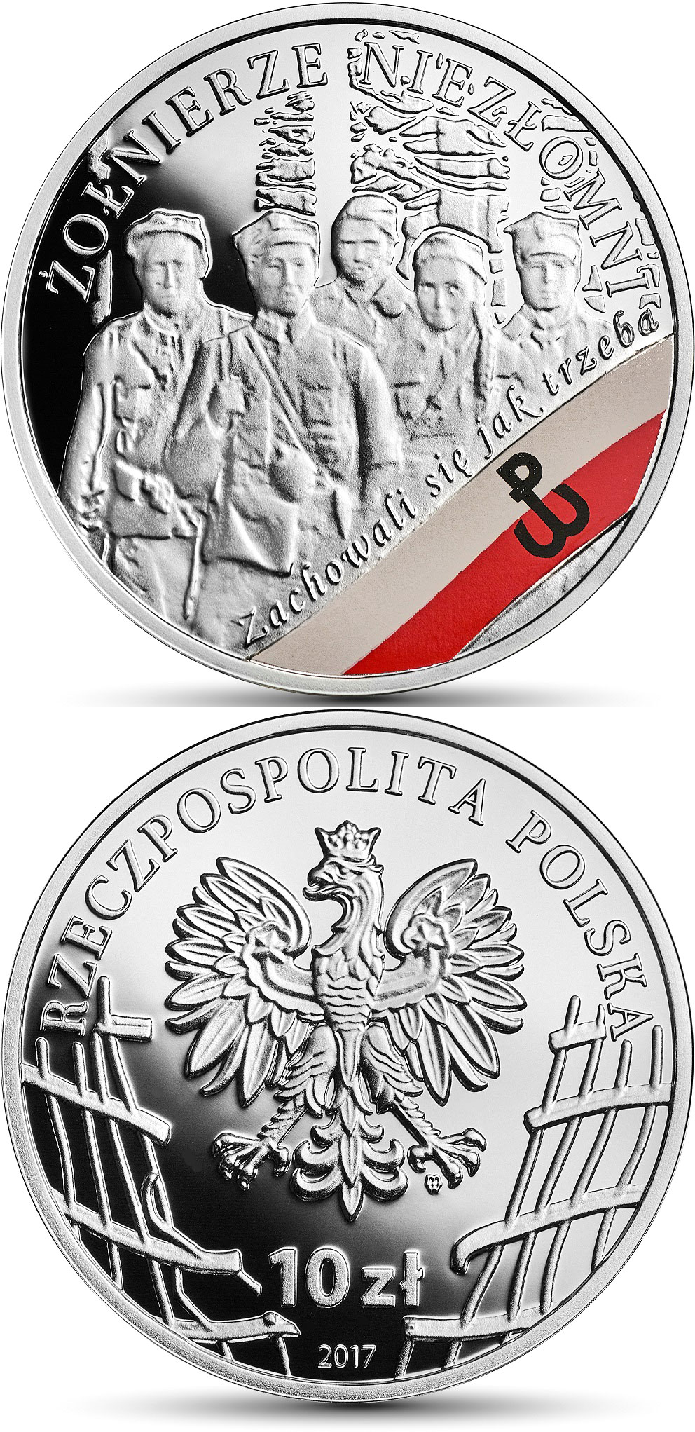 Image of 10 zloty coin - The Enduring Soldiers  | Poland 2017.  The Silver coin is of Proof quality.