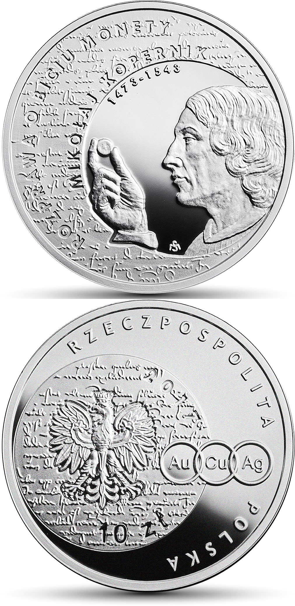 Image of 10 zloty coin - Nicolaus Copernicus  | Poland 2017.  The Silver coin is of Proof quality.