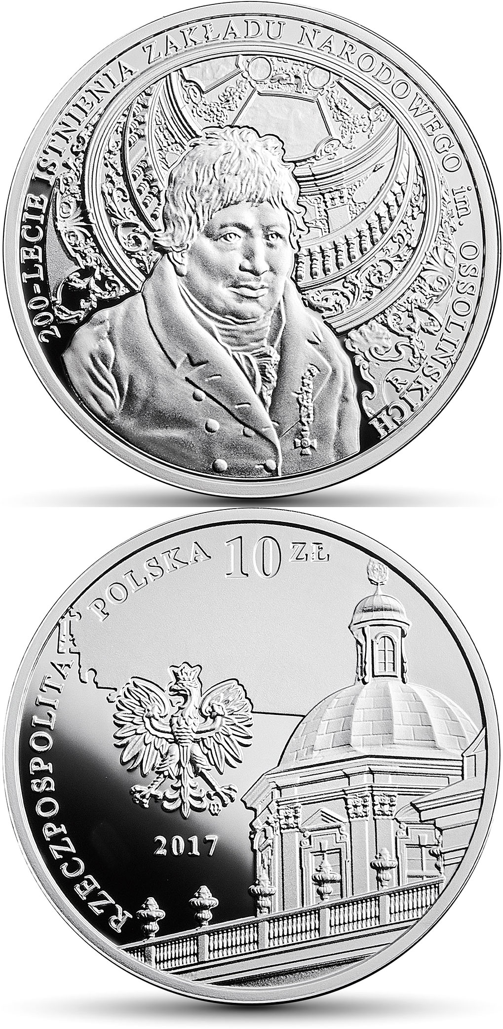 Image of 10 zloty coin - 200th Anniversary of the Ossoliński National Institute | Poland 2017.  The Silver coin is of Proof quality.