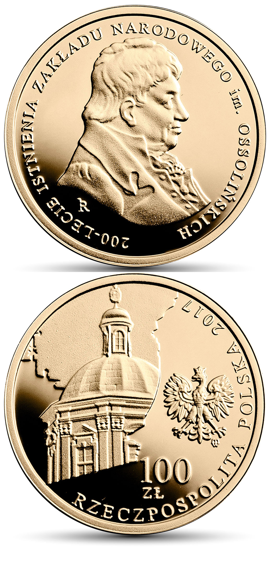 Image of 100 zloty coin - 200th Anniversary of the Ossoliński National Institute | Poland 2017.  The Gold coin is of Proof quality.